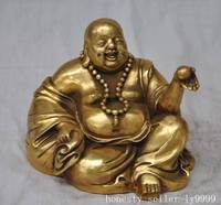 Crafts statue Buddhism bronze Brass Happy laughing Maitreya Buddha Wealth lucky statue halloween