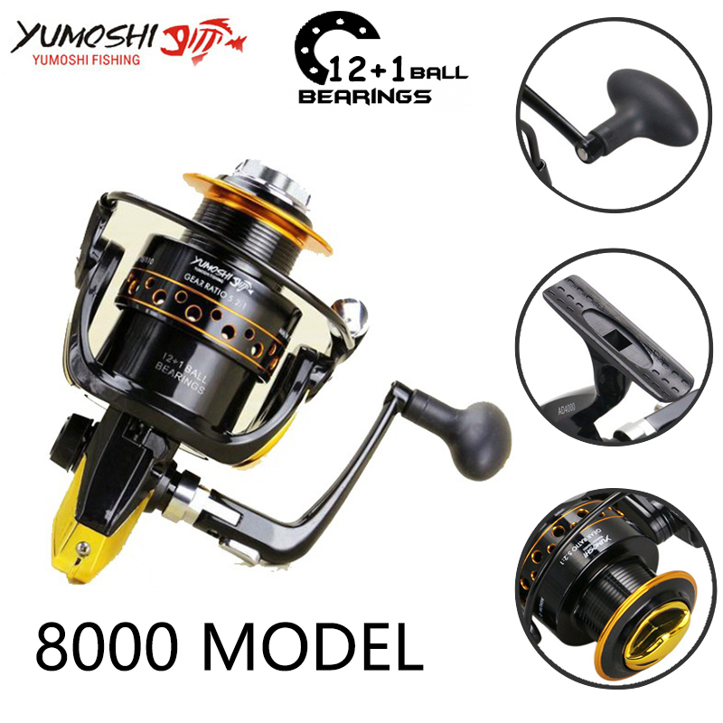 Yumoshi 12+1BB 5.5:1 Fishing Reel Carp Fishing Reels Feeder Spinning Reel China equipment (8000 image