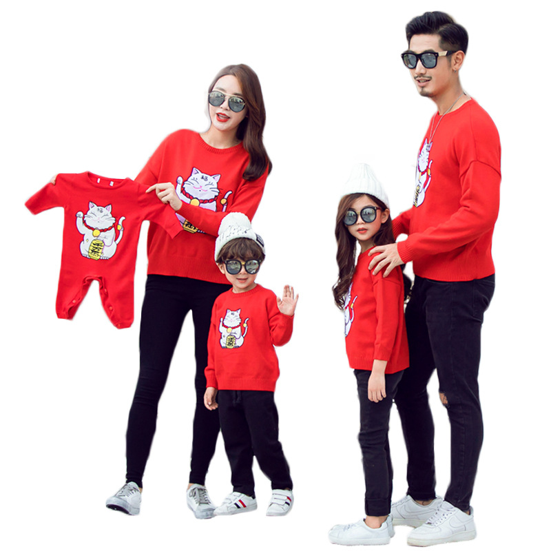 Dad Mom Daughter Family Matching Outfit Christmas Children Clothes Cartoon New Year Boys Girls Knit Sweater Baby Knitted Romper