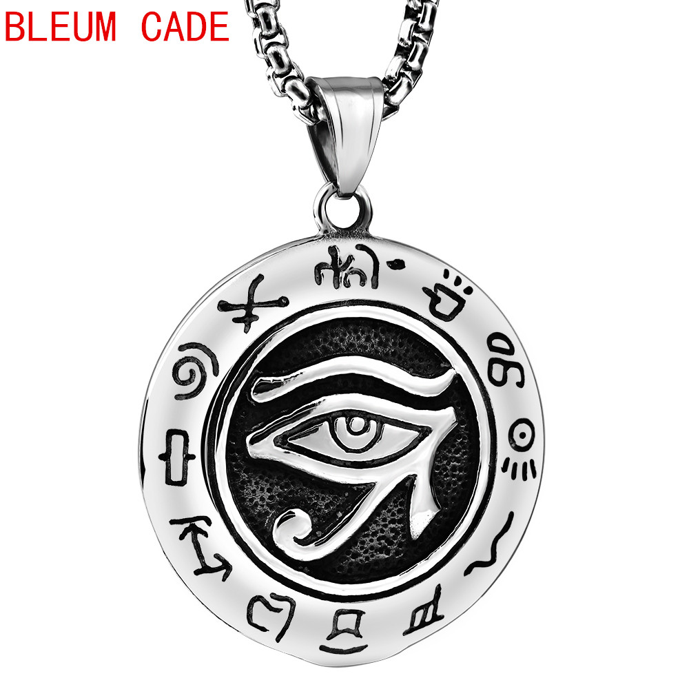 Hiphop/Rock Religious Egyptian Eye of Horus Ancient Egypt Pendant Necklace Stainless Steel Jewelry