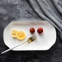 ANTOWALL Chinese ceramics microwave oven fish plate simple black edge white dish family restaurant hotel long plate