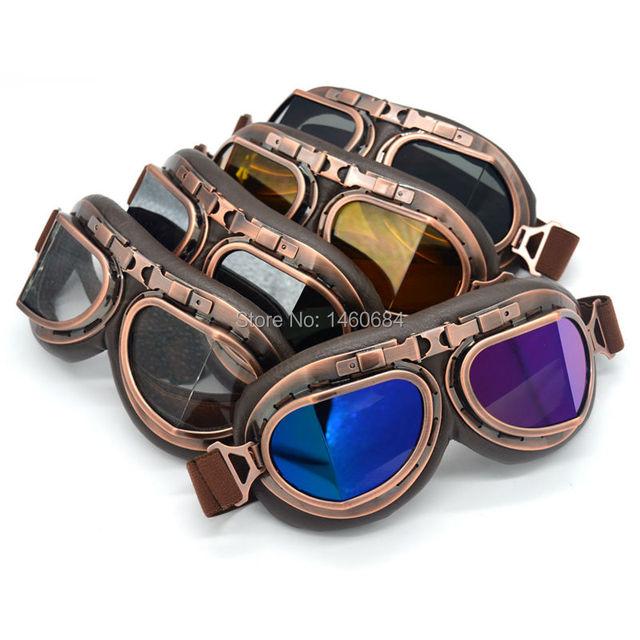 9e16fe408d290 Evomosa Óculos de Proteção Da Motocicleta Do Vintage Retro Steampunk Aviator  Pilot Cruiser Motocross Clássico Óculos