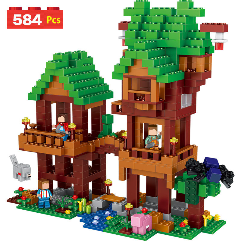 My World Series Tree tower Model Educational Lookout Building Blocks Whistle Compatible Minecrafter Brick Toy For Kid my world tree house brick scene series steve mini blocks model building blocks kit toys for children compatible 21125