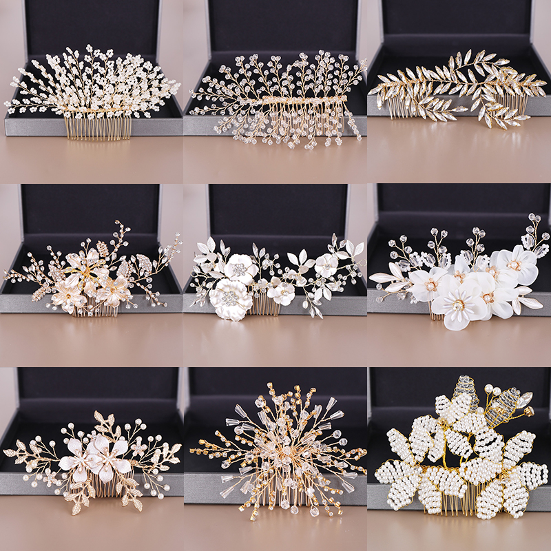 Combs Head-Ornament Jewelry Tiaras Wedding-Hair-Accessories Pearl Crystal Gold-Floral