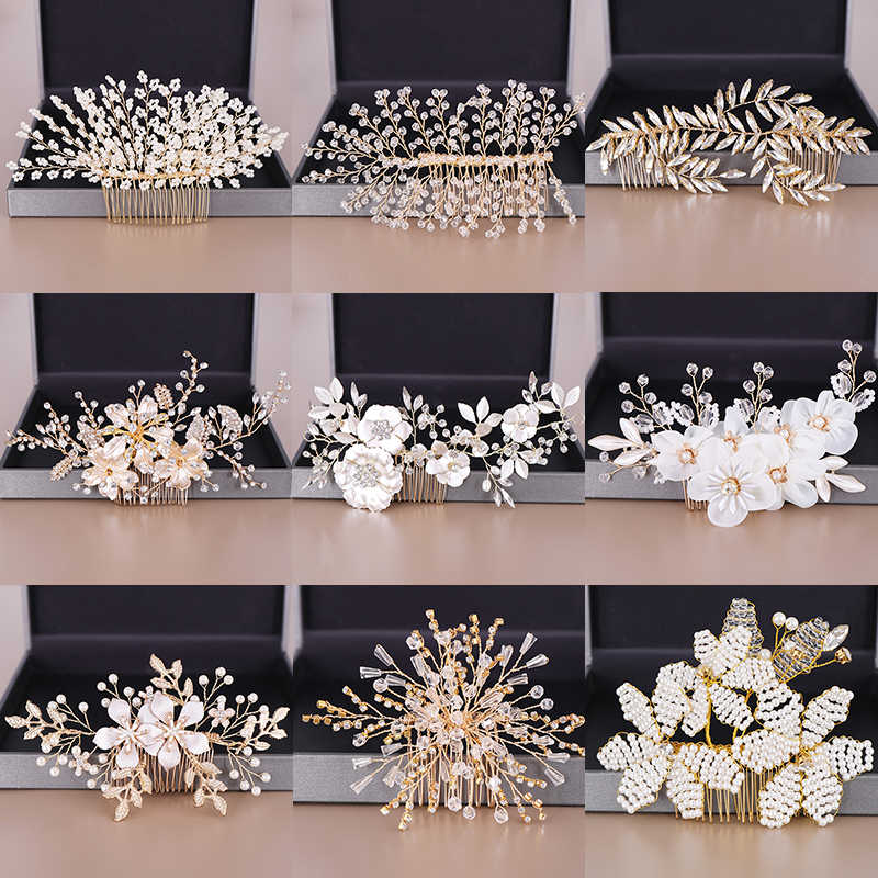 Fashion Wedding Hair Accessories Hair Combs Pearl Crystal Tiaras Combs Women Jewelry Gold Floral Freshwater Pearls Head Ornament