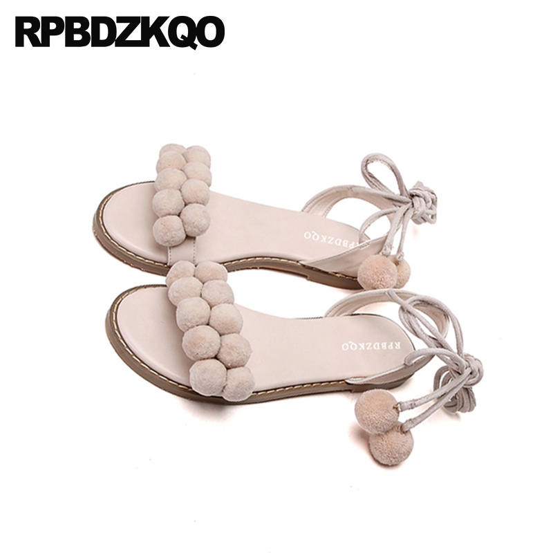 0f7556184 ... Kawaii Tie 2018 Embellished Flat Summer Strap Cute Shoes Holiday Up Pom  Gladiator Blue Women Sandals ...