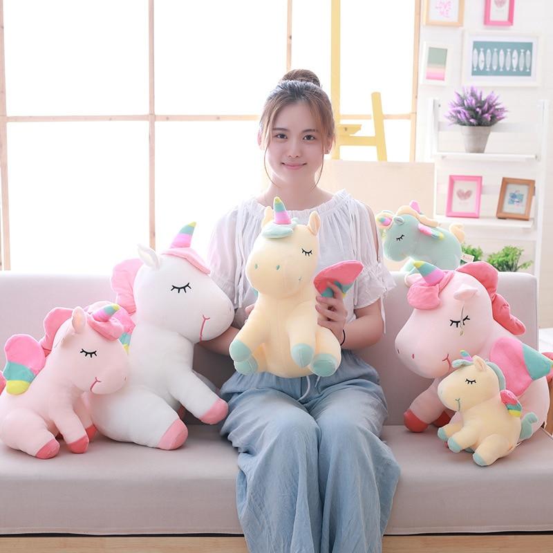 25-55cm Cute Kawaii Rainbow Unicorn Plush Toy Fat Unicorn Horse Soft Animals Stuffed Doll Pillow Toys For Baby Girls Kids Christ