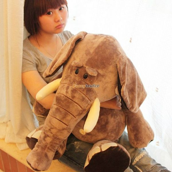 Fancytrader 31'' / 80cm Cute Stuffed Giant Super Soft Plush Brown Wild Elephant Toy, Great Gift For Kids, Free Shipping FT50166 fancytrader biggest in the world pluch bear toys real jumbo 134 340cm huge giant plush stuffed bear 2 sizes ft90451