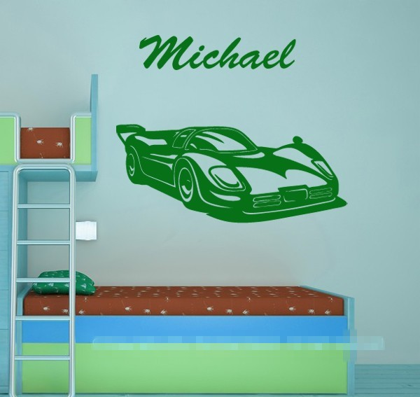 Cool Personalised Name Boy Room Wall Stickers Race Car Wall Decals Kirds  Room Nursery Wall Art Decor You Choose Name U0026 Color  In Wall Stickers From  Home ...