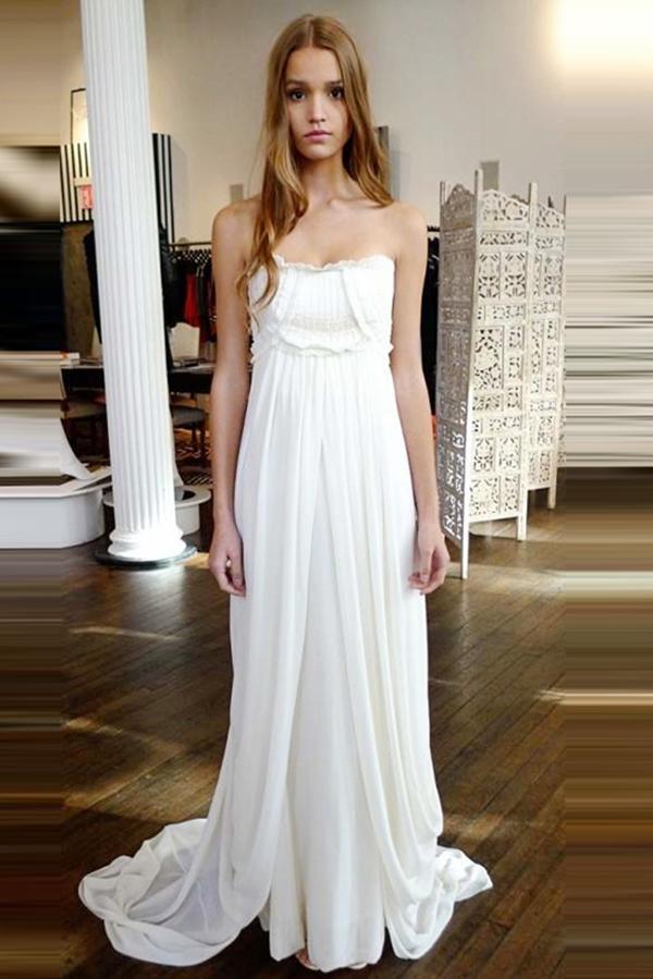 Unique Strapless Beach Wedding Dresses Sweep Train Zipper Natural Ivory Ruffles