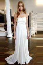 Unique Strapless Beach Wedding Dresses Sweep Train Zipper Natural Ivory Ruffles