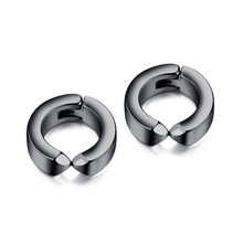 Punk Classic Stainless Steel Hoop Earring For Man Women steel/black earring Jewelry Gift DropShipping