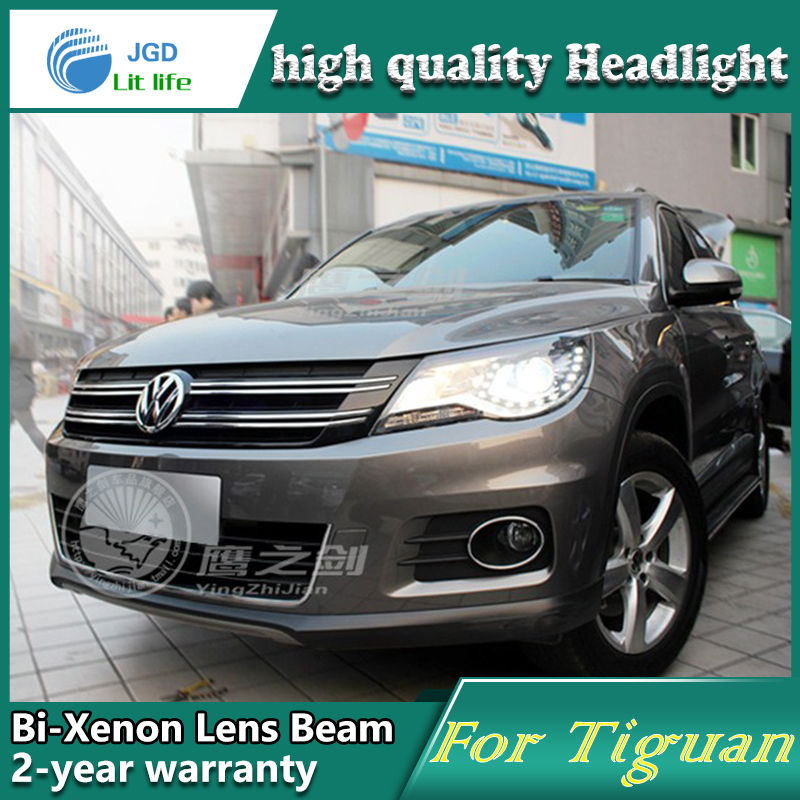 high quality Car Styling Head Lamp case for VW Tiguan 2013 LED Headlight DRL Daytime Running Light Bi-Xenon HID Accessories