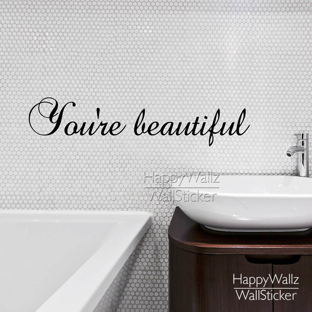 You're Beautiful Quote Wall Sticker Motivational Quote Wall Decal DIY  Removable Easy Decors Vinyl