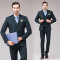 Brand-Clothing Blazer Men Jacket Casual Slim Green Business Dress Suits Jacket Wedding Dress Mens 3pcs Suits Jacket+Vest+Pants