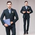 Marca-Roupas Vestido de Negócios Ternos Blazer Homens Jaqueta Casual Fino casaco Verde Jaqueta Dos Homens Do Vestido de Casamento 3 pcs Ternos Jaqueta + colete + Calça
