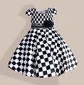 6-10 years print Girls plaid Dresses Cotton short sleeve Children's Dress children casual dress