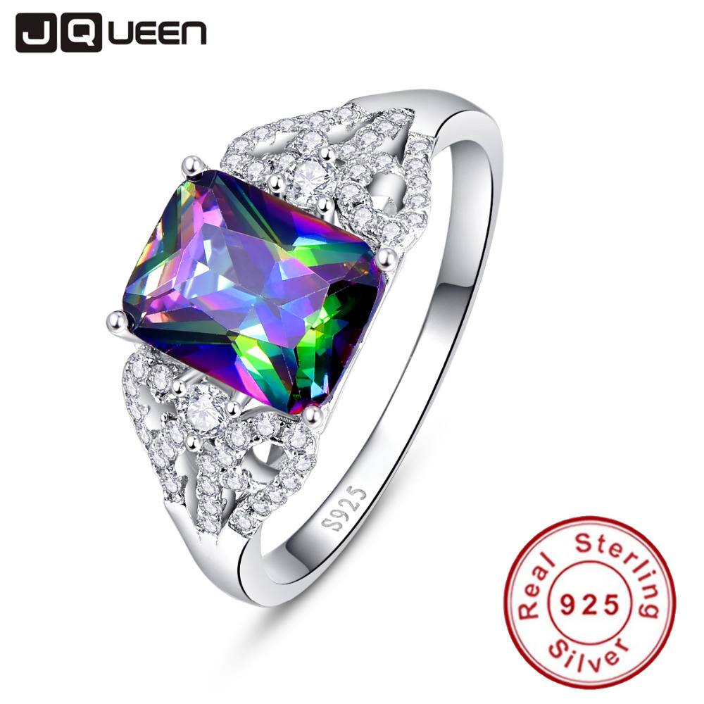 Hot Emerald Cut 3ct Natural Mystic Fire Rainbow Topaz Engagement Bröllop Ring Äkta 925 Sterling Silver Ringar för kvinnor