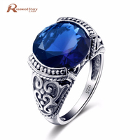Fashion Beautiful Vintage Antique Blue Stone CZ Crystal Bohemian Boho Rings for Women Real 925 Sliver Ring Anillos Bague Femme