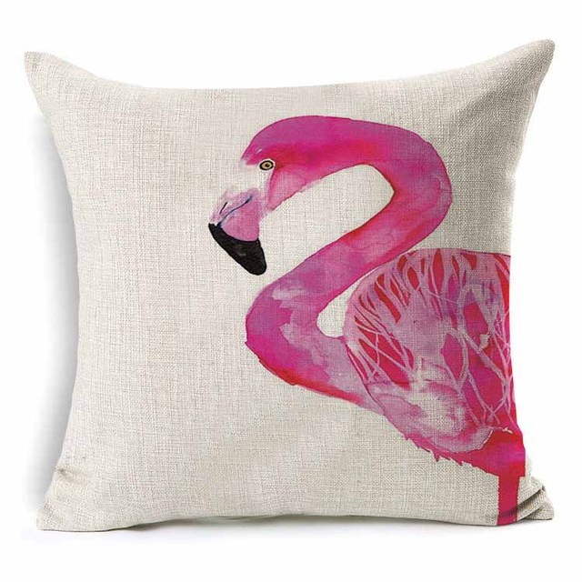Flamingo Pattern Cotton Cushion Cover