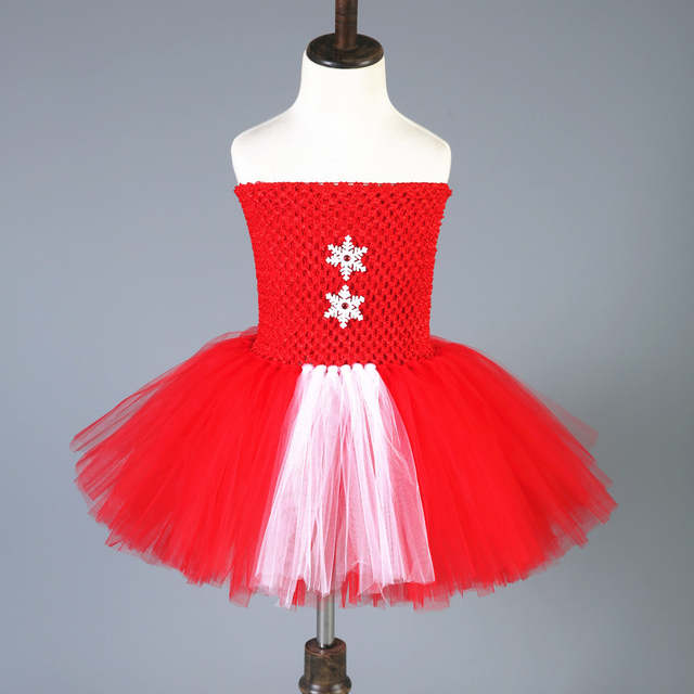 1 Sets Cosplay Christmas Elf Tutu Dress Up Tulle Princess Girl Party Dress  Red Green Christmas 31e442af26c0