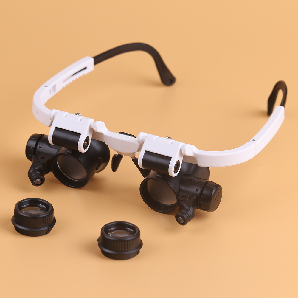 BIJIA 8X 15X 23X Magnifying Glass Loupe Watch Repair Eyewear Magnifier with 2 LED Lights
