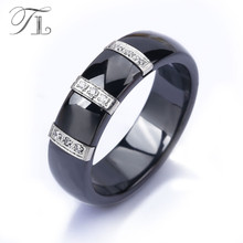 TL Stainless Steel Ceramic Rings For Women Three Lines Inlaid Zircon Cubic Unique Design Cheap Cocktail Rings Wedding Jewelry