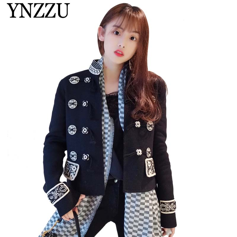 Vintage 2019 Spring New Jacket Women Fashion Embroidery Stand Collar Long Sleeve Horn Button Loose Autumn