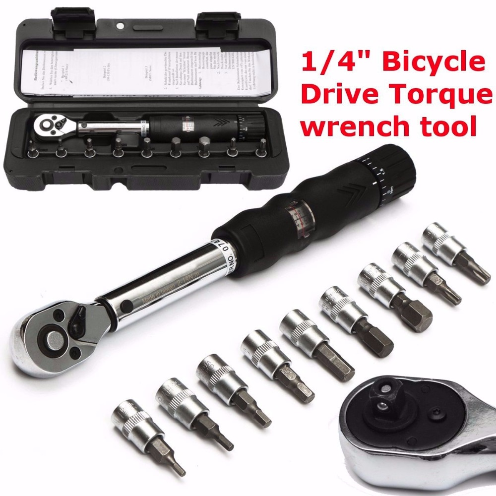 Bicycle Bike Torque Wrench DRILLPRO 1/4-Inch Bicycle Bike Torque Wrench Socket Set Kit Allen Key Tool 2~14NMBicycle Bike Torque Wrench DRILLPRO 1/4-Inch Bicycle Bike Torque Wrench Socket Set Kit Allen Key Tool 2~14NM