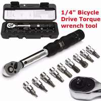 Bicycle Bike Torque Wrench DRILLPRO 1/4-Inch Bicycle Bike Torque Wrench Socket Set Kit Allen Key Tool 2~14NM
