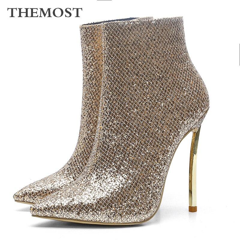 ARQA brand fashion gold plaid ladies ankle boots high heels warm short plush lining woman boots zapatos de mujer botasARQA brand fashion gold plaid ladies ankle boots high heels warm short plush lining woman boots zapatos de mujer botas