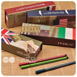 Korea stationery flag pattern personality paper stationery box pencil box storage box