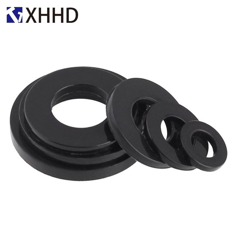 M4 x 8mm x 1mm Nylon Flat washers Separators Gaskets Bra Black 300PCS