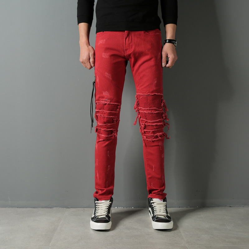 Red Color Hip Hop Jeans Men Fashion High Street Destroyed Ripped Jeans Stretch Denim Punk Pants Brand Designer Men's Biker Jeans fashion mens hip hop ankle zipper biker denim pants justin bieber jeans fear of god version designer destroyed ripped jeans