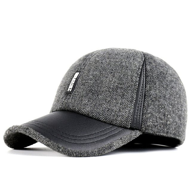 2016 winter dad hat warm cotton faux leather snapback caps protection fitted mens winter hats ear flaps baseball cap