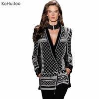 KoHuiJoo чистый бисер ручной работы бархатный блейзер для женщин высокое качество глубокий v образный вырез женские пальто длинный рукав модны