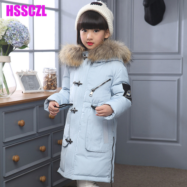 2016 nueva capa de la muchacha abajo para niñas invierno espesar parka larga de cuello con capucha niños ropa de abrigo prendas de vestir exteriores unisex niños