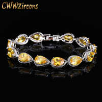 CWWZircons marque haute qualité poire coupe jaune pierre cubique zircon bracelets pour femme mode mariée bijoux de mariage CB127