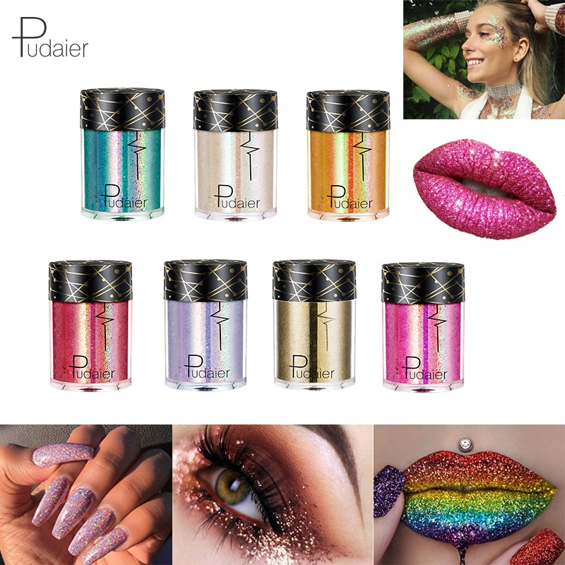 Eye Shadow Beauty & Health Pudaier Holographic Glitter & Shimmer Mermaid 36 Colors Eye Shadow Highlighter Face Festival Glitters Body Makeup
