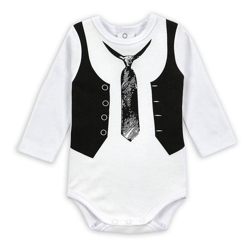New Fashion Baby Bodysuit Langermede Gentleman Ties Baby Drenge Forår Klæder Infant Jumpsuit Ropa Baby Body Suit