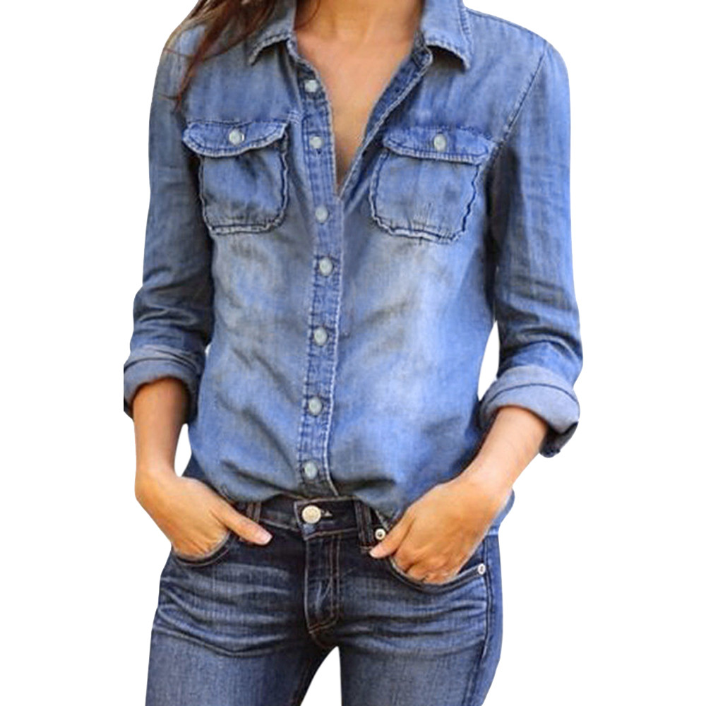 fashion retro casual jean blouses womens ladies blue denim long sleeve shirt tops jacket lapel v
