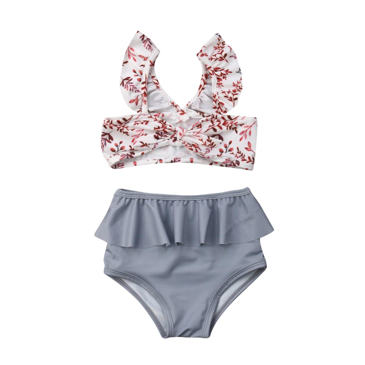 Лидер продаж, комплект из 2 предметов для маленьких девочек, Леопардовый цветочный принт, купальный костюм, бандаж, оборки, детский пляжный л... 16