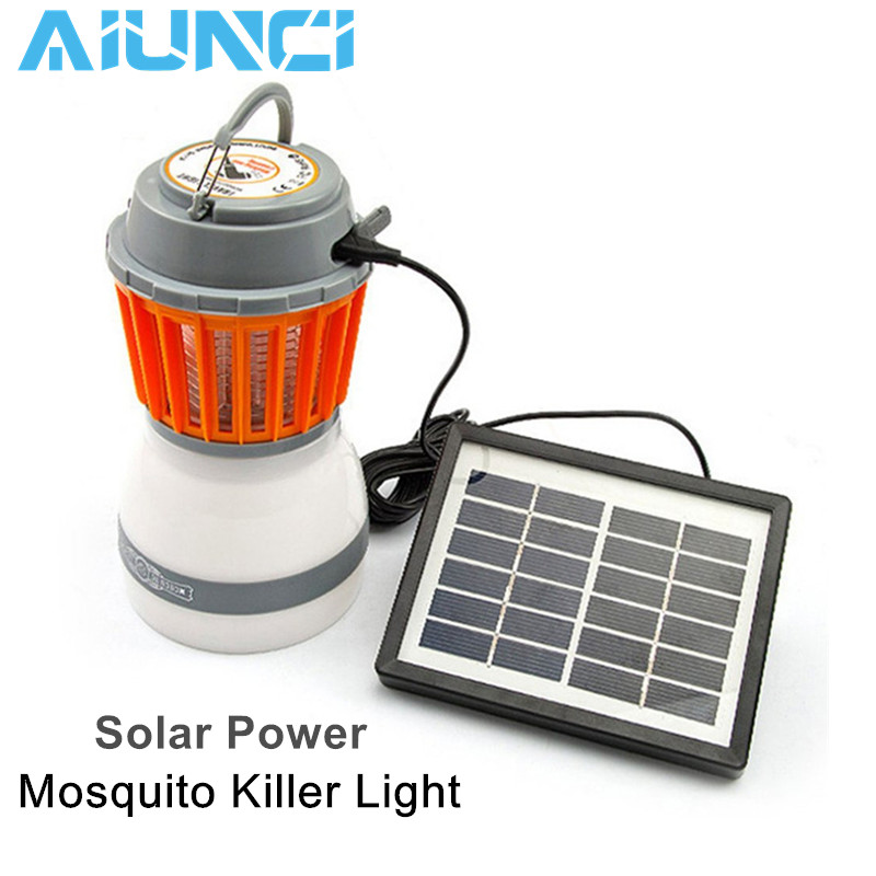 Solar Power Mosquito Killer Light Rechargeable Hand hold Outdoor Garden Yard UV Bug Killing Pest Lamp