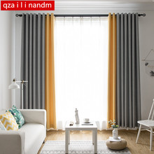 Modern solid color Stitching curtains for treatment blinds finished drapes window blackout curtains for living room the bedroom 2 pcs blackout curtains kid s room drapes for bedroom for window treatment blinds curtains for living room the bedroom blinds