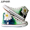 JUP Chinese style Lotus Design Hand Painted Shoes Graffiti Canvas Flat Shoes for Men Female Girls Couples High Top Fashion Shoes