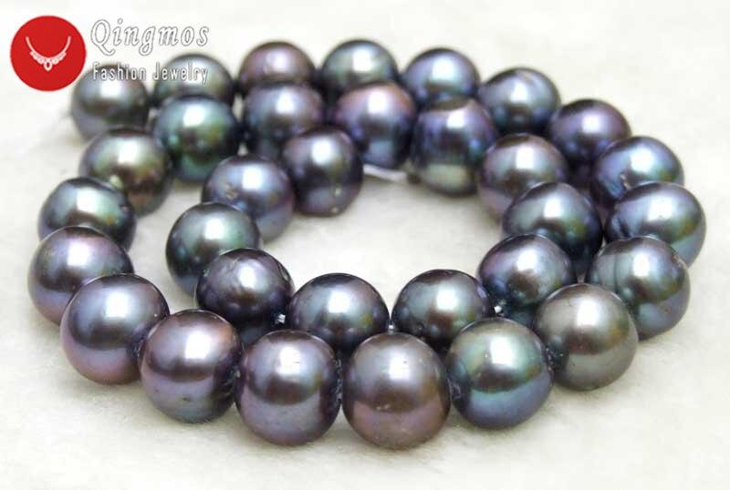 Qingmos 12 13mm perlas blancas cuentas sueltas para hacer joyas con perlas de agua dulce redondas naturales hebras 14 los45 envío gratis - 5