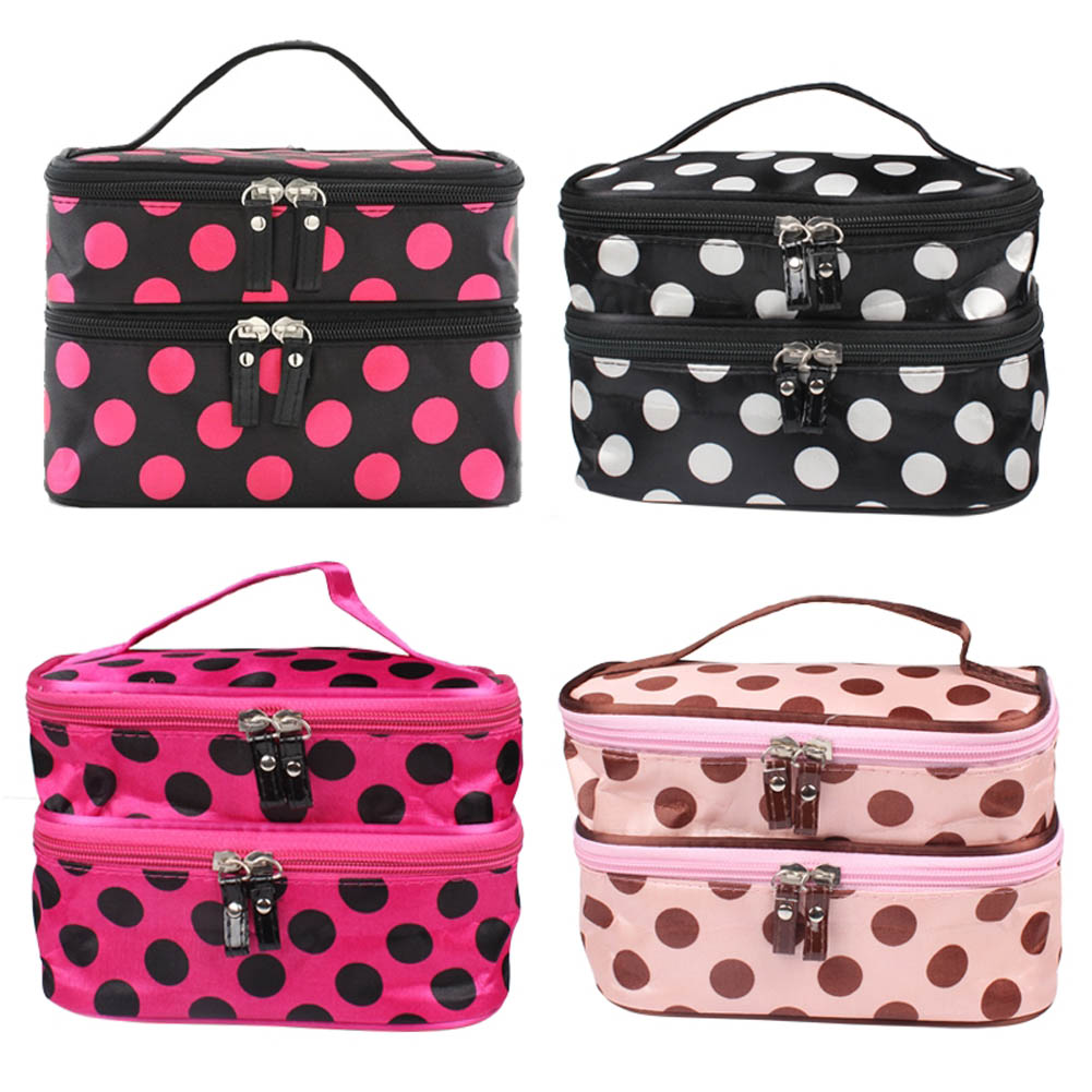 Wave Point Portable Double-deck Travel Toiletry Beauty Cosmetic Bag Makeup Case Organizer Handbag Cosmetic Bag For Cosmetics
