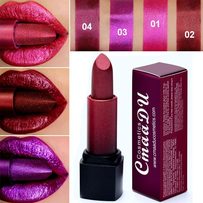 Cmaadu 4 Colors Shimmer Lipstick Diamond Crystal Flash Creamy Pigmented Lip Stick Moisturizing Makeup Shiny Lips Rouge Batom