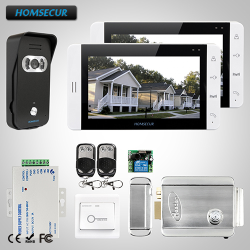 HOMSECUR 7 Video Door Phone Intercom System+Camera for Home Security 1C2M+L3:TC021-B Camera(Black)+TM703-W Monitor(White)+Lock