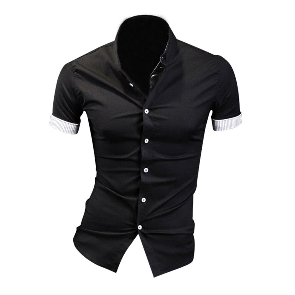 Black Summer Mens Fashion Dress Shirts Plaid Hit Color Edging Lined with Stripes Slim Fit Short sleeved Shirts